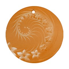 Orange Abstract Flowers Round Ornament