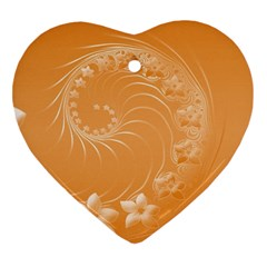 Orange Abstract Flowers Heart Ornament