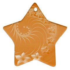Orange Abstract Flowers Star Ornament