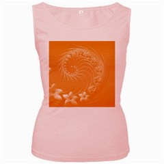 Orange Abstract Flowers Womens  Tank Top (Pink)