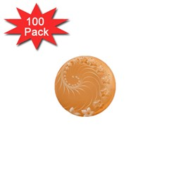 Orange Abstract Flowers 1  Mini Button Magnet (100 Pack)