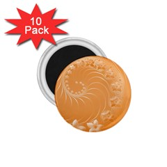 Orange Abstract Flowers 1.75  Button Magnet (10 pack)