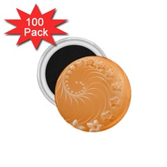 Orange Abstract Flowers 1.75  Button Magnet (100 pack)