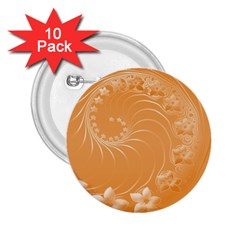 Orange Abstract Flowers 2.25  Button (10 pack)