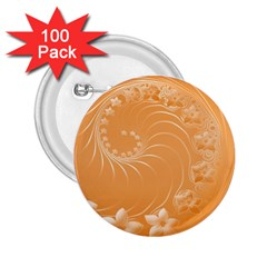 Orange Abstract Flowers 2.25  Button (100 pack)
