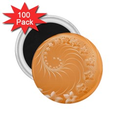 Orange Abstract Flowers 2 25  Button Magnet (100 Pack)