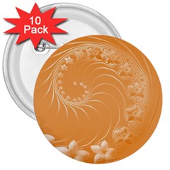 Orange Abstract Flowers 3  Button (10 Pack)