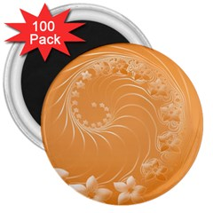 Orange Abstract Flowers 3  Button Magnet (100 pack)