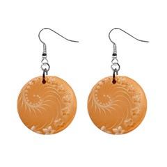 Orange Abstract Flowers Mini Button Earrings