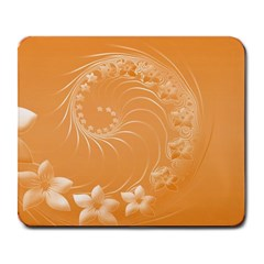 Orange Abstract Flowers Large Mouse Pad (Rectangle)