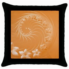 Orange Abstract Flowers Black Throw Pillow Case