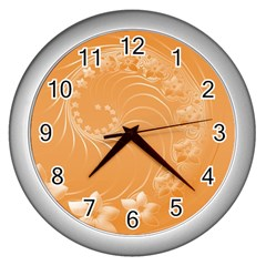 Orange Abstract Flowers Wall Clock (Silver)