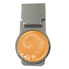 Orange Abstract Flowers Money Clip (Round)