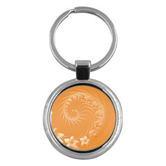 Orange Abstract Flowers Key Chain (Round)