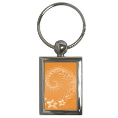 Orange Abstract Flowers Key Chain (Rectangle)