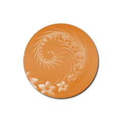 Orange Abstract Flowers Drink Coasters 4 Pack (Round)