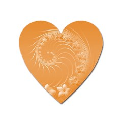 Orange Abstract Flowers Magnet (heart)