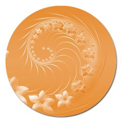 Orange Abstract Flowers Magnet 5  (round)