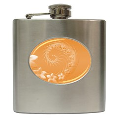 Orange Abstract Flowers Hip Flask
