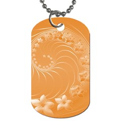 Orange Abstract Flowers Dog Tag (Two Sided)