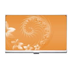 Orange Abstract Flowers Business Card Holder