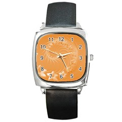 Orange Abstract Flowers Square Leather Watch