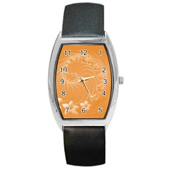 Orange Abstract Flowers Tonneau Leather Watch