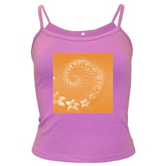 Orange Abstract Flowers Spaghetti Top (Colored)