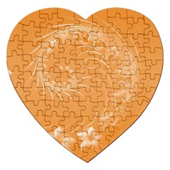 Orange Abstract Flowers Jigsaw Puzzle (Heart)