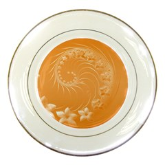 Orange Abstract Flowers Porcelain Display Plate