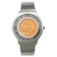 Orange Abstract Flowers Stainless Steel Watch (Unisex)