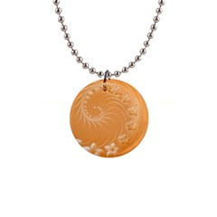 Orange Abstract Flowers Button Necklace