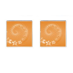 Orange Abstract Flowers Cufflinks (square)