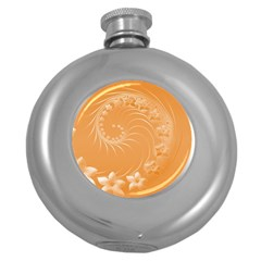 Orange Abstract Flowers Hip Flask (round)