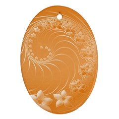 Orange Abstract Flowers Oval Ornament (Two Sides)