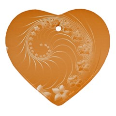 Orange Abstract Flowers Heart Ornament (two Sides)