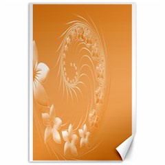 Orange Abstract Flowers Canvas 24  X 36  (unframed)