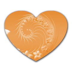 Orange Abstract Flowers Mouse Pad (Heart)