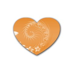 Orange Abstract Flowers Drink Coasters 4 Pack (Heart)