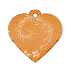 Orange Abstract Flowers Dog Tag Heart (two Sided)