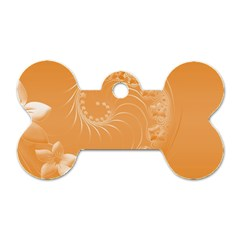 Orange Abstract Flowers Dog Tag Bone (Two Sided)