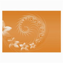Orange Abstract Flowers Glasses Cloth (Large, Two Sided)