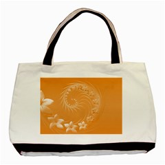 Orange Abstract Flowers Twin-sided Black Tote Bag