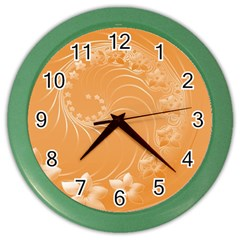 Orange Abstract Flowers Wall Clock (color)