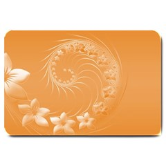 Orange Abstract Flowers Large Door Mat