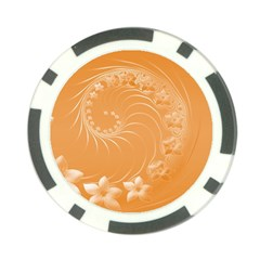 Orange Abstract Flowers Poker Chip