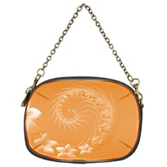 Orange Abstract Flowers Chain Purse (One Side)