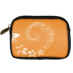 Orange Abstract Flowers Digital Camera Leather Case