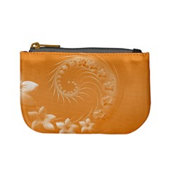 Orange Abstract Flowers Coin Change Purse