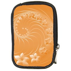 Orange Abstract Flowers Compact Camera Leather Case